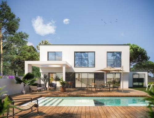 [Vue extérieure] Villa piscine – Catalogue 3D – ISOROL
