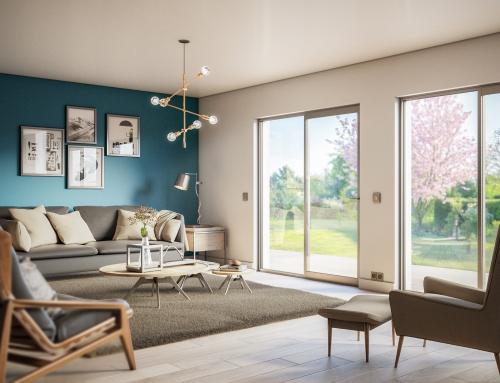 [Vue intérieure] Salon immobilier neuf – Catalogue 3D – ISOROL
